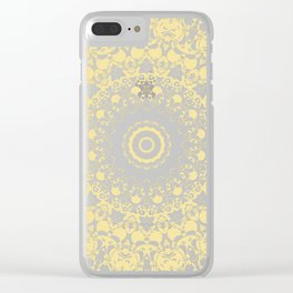 White Lace Mandala on Sunshine Yellow Background Clear iPhone Case