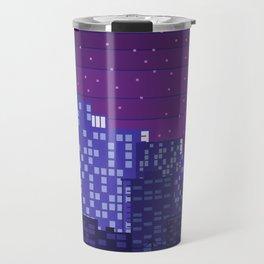 Purple Pixel City Travel Mug
