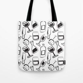 Wine Lovers Illustrated Wine Glasses and Wine Bottles Tote Bag