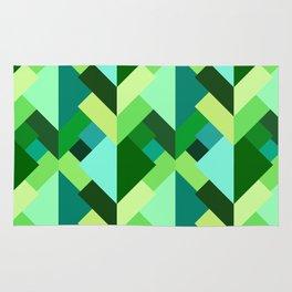 Modern Abstract Triangles, Emerald Green and Aqua Rug