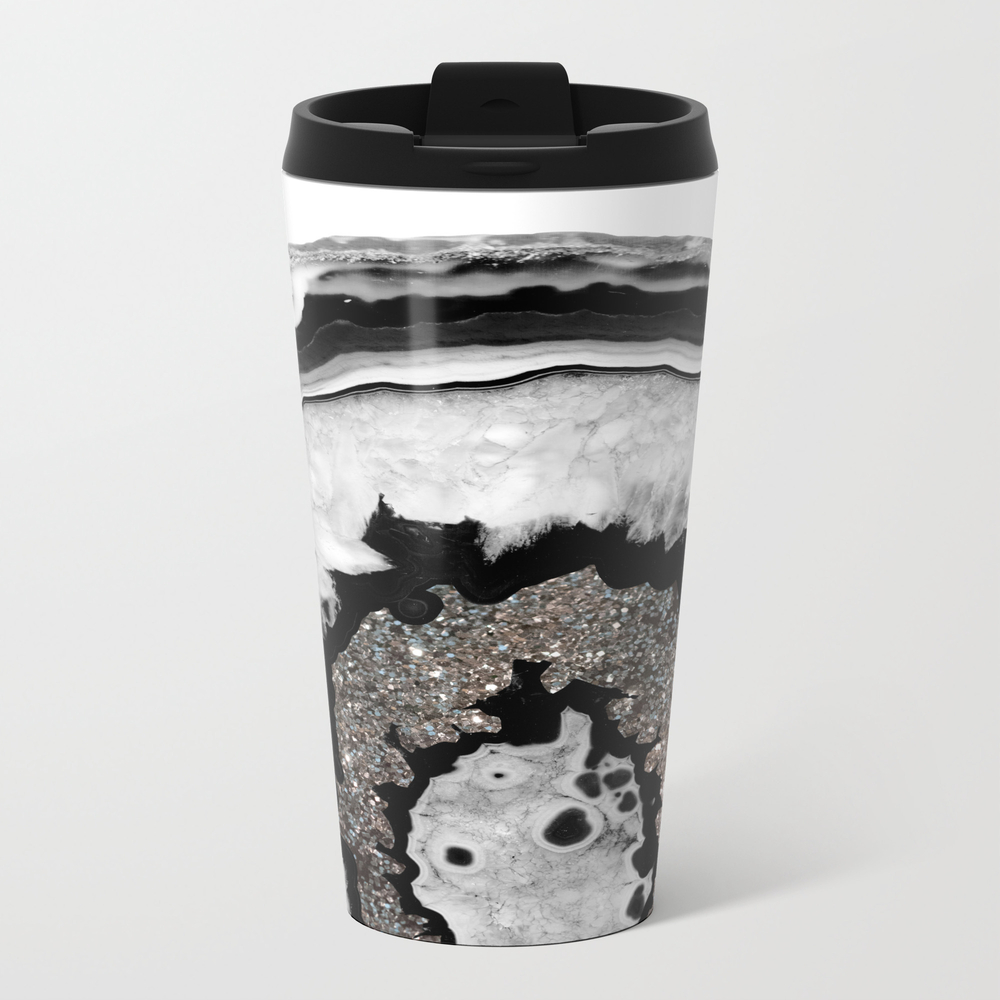 Gray Black White Agate With Silver Glitter #1 #gem… Metal Travel Mug by Anitabellajantz MTM9069421