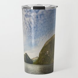 Sunglow over interesting Mountain Range at Doubtful Sound Travel Mug