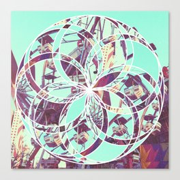 Los Angeles Ferris Wheel Abstract Mosaic Canvas Print