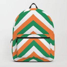 Orange White and Green Irish Chevron Stripe Backpack