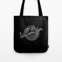 Waverider - white on black Tote Bag