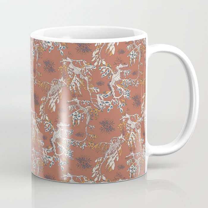 Water Swingers in Beach Sand ( leafy sea dragon pattern in coral ) Coffee Mug