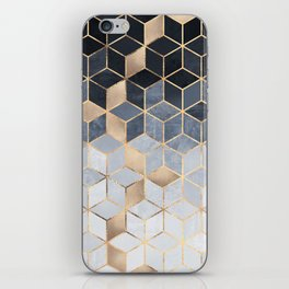 Soft Blue Gradient Cubes iPhone Skin