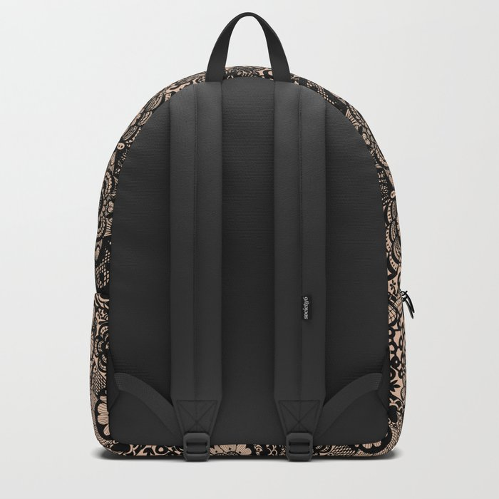 Bronze nude with black lace Backpack