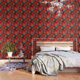 BUTTERFLIES &  BLACK BATS  RED ART Wallpaper