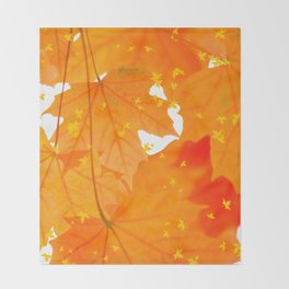 Fall Orange Maple Leaves On A White Background #decor #buyart #society6 Throw Blanket
