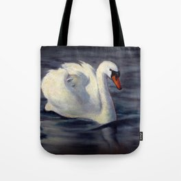 Swan Swimming in Sunshine, Oil Pastel Painting Tote Bag