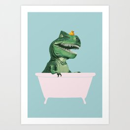 Playful T-Rex in Bathtub in Green Art Print