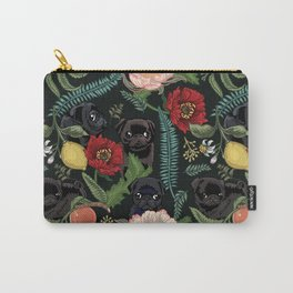 Botanical and Black Pugs Carry-All Pouch