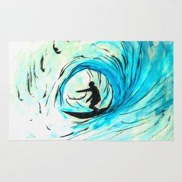 Lone Surfer Tubing the Big Blue Wave Rug