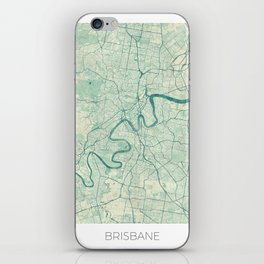 Brisbane Map Blue Vintage iPhone Skin