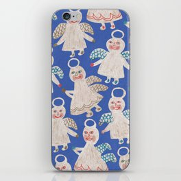 Angels on blue iPhone Skin