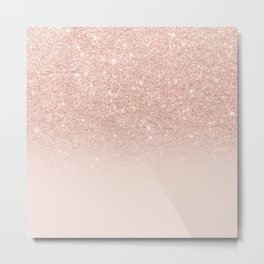 Rose gold faux glitter pink ombre color block Metal Print