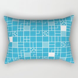 Inverted Boxes Blue Rectangular Pillow