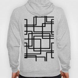 Interlocking Black Squares Artistic Design Hoody