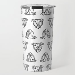 Pitbull Dog Print - black and white halftone Travel Mug