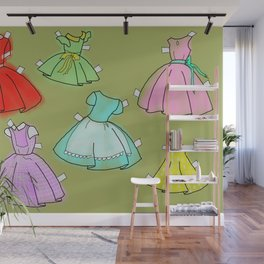 1950's paper doll dresses Wall Mural