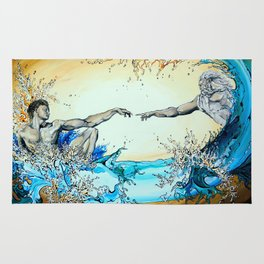 Adam Reaching Out To God In Water Rug