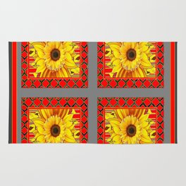 TEAL-RED ART & YELLOW SUNFLOWER CHARCOAL GREY DECO Rug
