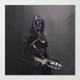 She has a shotgun Canvas Print