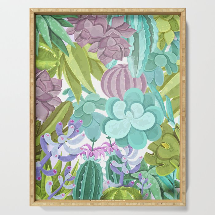 Tropical Cactus Pattern Serving Tray
