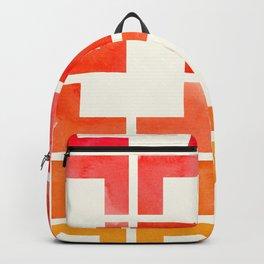 Red Orange Yellow Geometric Mid Century Modern Pattern L Shaped Grid  Backpack fef78fa715b8f