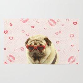 Pug face sunglasses,pugs and kisses Rug