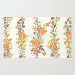Romantic Vintage Design of Birds & Flowers - Natural colorful Rug