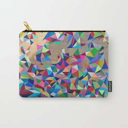 Geometric Rainbow Cluster on Wood Carry-All Pouch