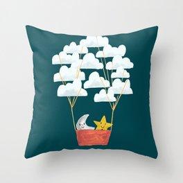 Hot cloud baloon - moon and star Throw Pillow