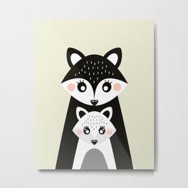 Scandinavian Mother and baby Fox Metal Print
