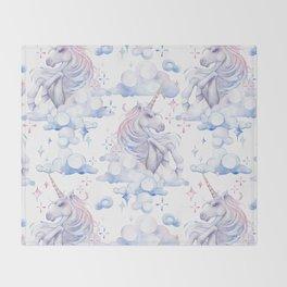 Watercolor unicorn in the sky Throw Blanket