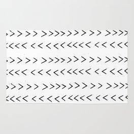 linocut Mudcloth grey and white minimal modern chevron arrows pattern gifts dorm college decor Rug