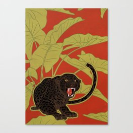 Black Panthers on  Red. Canvas Print
