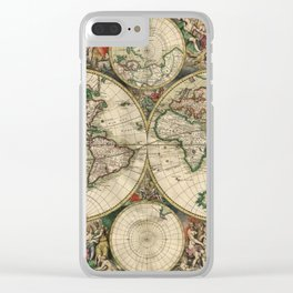 1689 Antique World Globe Map Clear iPhone Case