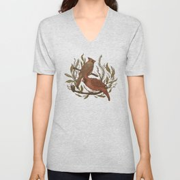 Wintery Cardinals Unisex V-Neck