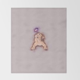 Staffordshire terrier Puppy with Butterfly Throw Blanket
