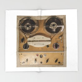 Vintage tape sound recorder reel to reel Throw Blanket