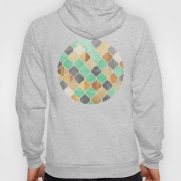 Charcoal, Mint, Wood & Gold Moroccan Pattern Hoody