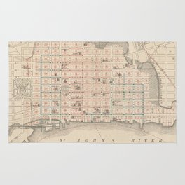 Vintage Map of Jacksonville FL (1878) Rug