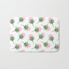 Pink thistel - Waterolor Bath Mat