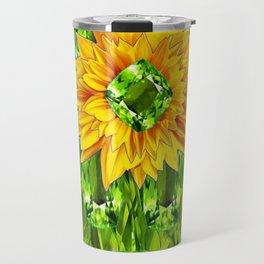 August  Peridots Gemstones & Yellow Sunflower  Lilac Abstract Travel Mug
