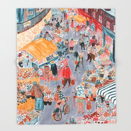 Columbia Road Flower Market Throw Blanket