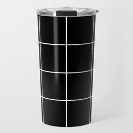 white grid on black background - Travel Mug