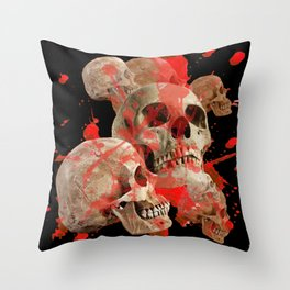 MACABRE BLOOD & SKULLS BLACK  ART Throw Pillow