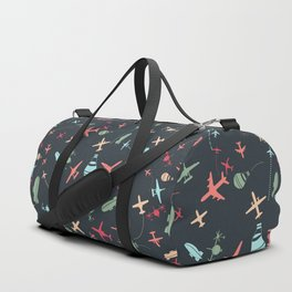 Black Airplane and Aviation Pattern Duffle Bag